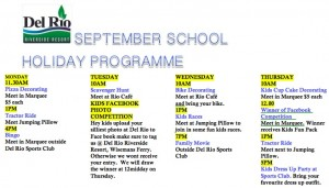 school holidays program sep