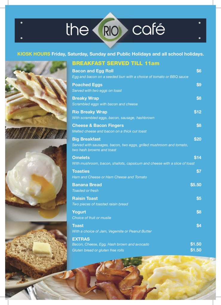 Del Rio Riverside Resort breakfast menu