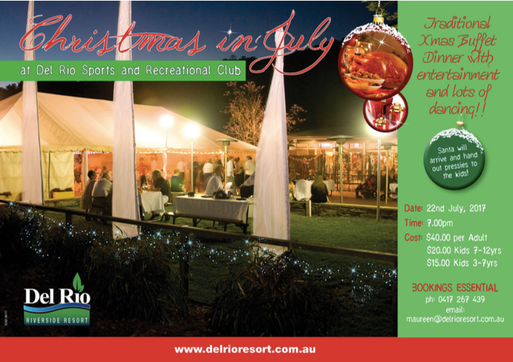 Christmas in July 2017 at Del Rio Riverside Resort, Wisemans Ferry