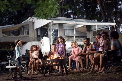 Camp fire at Del Rio Riverside Resort