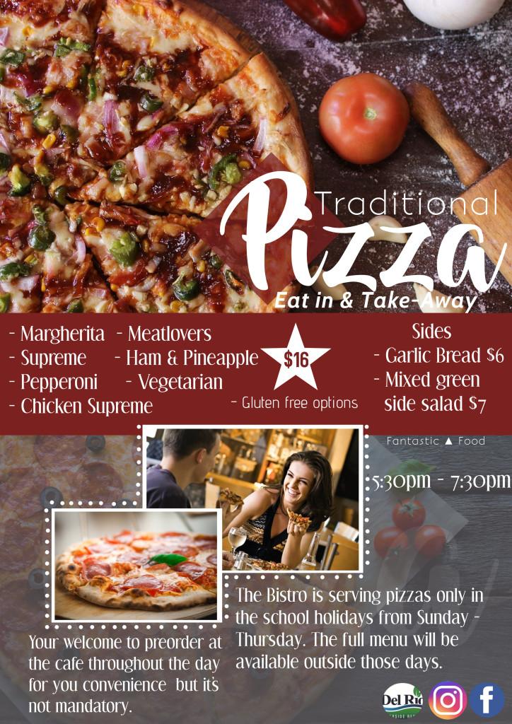 School hols pizza flyer